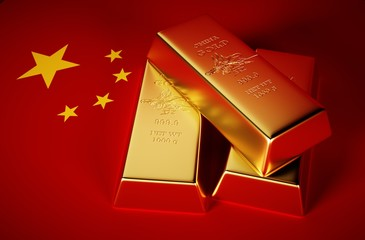 3d Photo-realistic image of golden bricks with china background