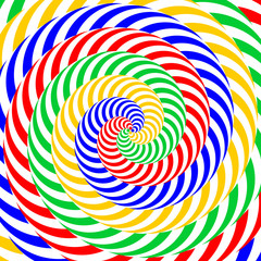 Design colorful whirlpool circular movement illusion background.