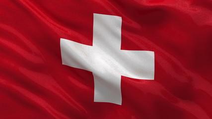Flag of Switzerland waving in the wind - seamless loop