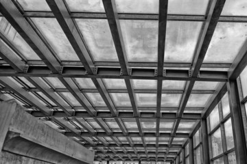 metallic building framework in black and white