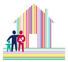Haus mit Familie auf streifen