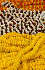 Flowers and garlands for sale at the flower market in Kolkata