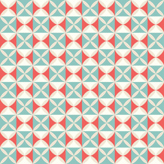 Geometrical pattern in red & blue colors, seamless vector backgr