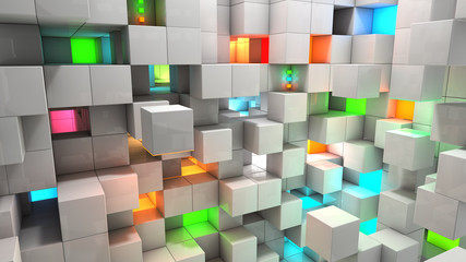 Abstract background white and color cubes