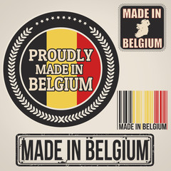 Made in Belgium stamp and labels