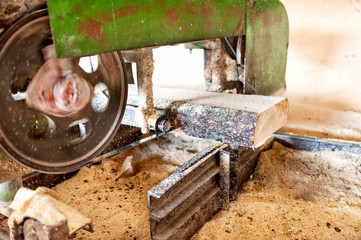 industrial wood production factory - close-up of industrial saw