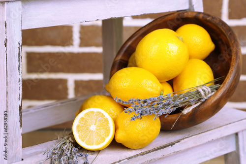 Still life with fresh lemons and lavender