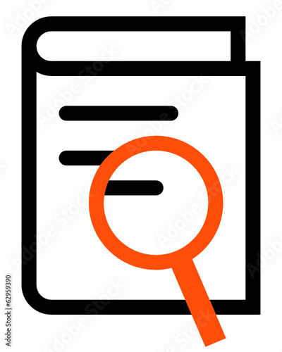Book search outline vector icon