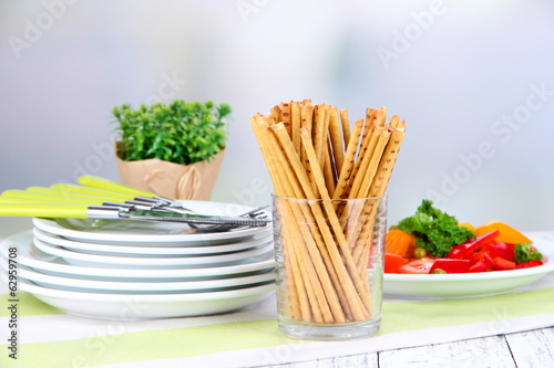Bread sticks  in wicker basket
