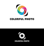 Photography logo with colorful leaves poster
