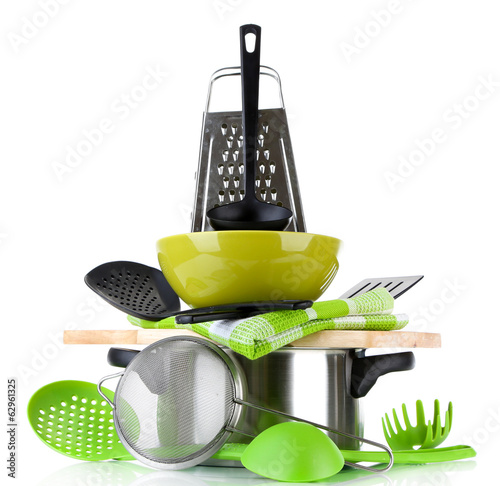 Stacked cooking equipment isolated  on white