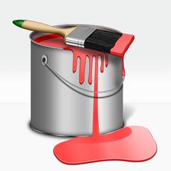 Farbeimer mit Pinsel, Rot