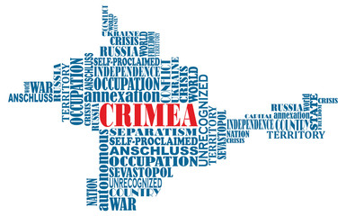 Vector conceptual word map of Crimea, invaded by Russia