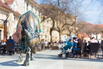 Artistic sculpture in city center of Ljubljana, Slovenia.