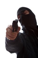 Murderer taking a target gun