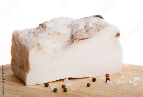 Piece of salted lard on board
