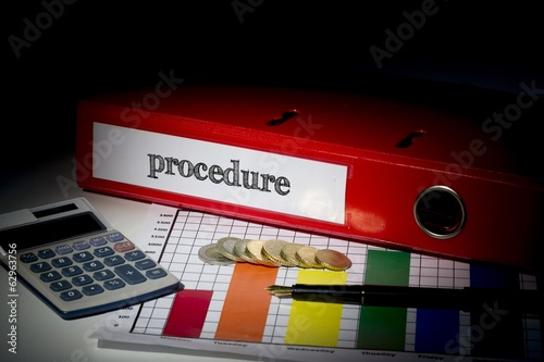 Procedure on red business binder