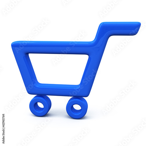 Blue shopping cart icon, 3d illustration
