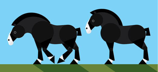 Simple flat illustration of black draft horse - vector