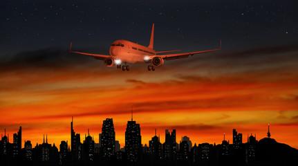 Flugzeug, Landeanflug am Abend