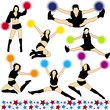 Cheerleaders Vector Silhouettes Set