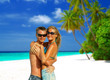 Couple hugging on Maldives