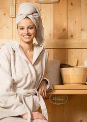 Relaxing in sauna