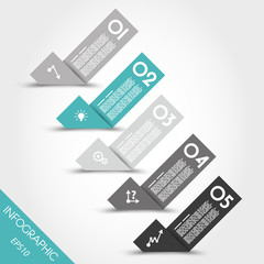 turquoise infographic origami bent stickers with icons