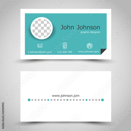 modern turquoise paper business card