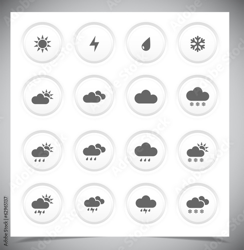 Set of grey weather buttons.