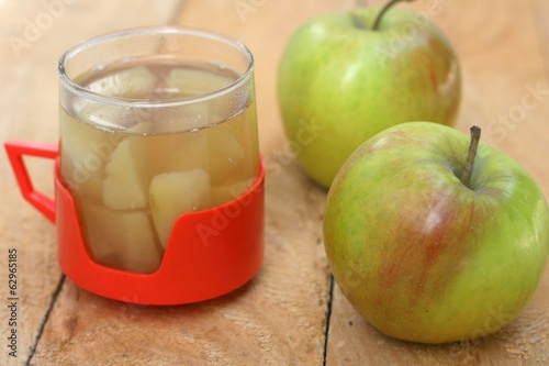Fresh homemade cooked apples with sugar