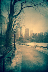 Vintage toned view of Central Park, NYC on winter day