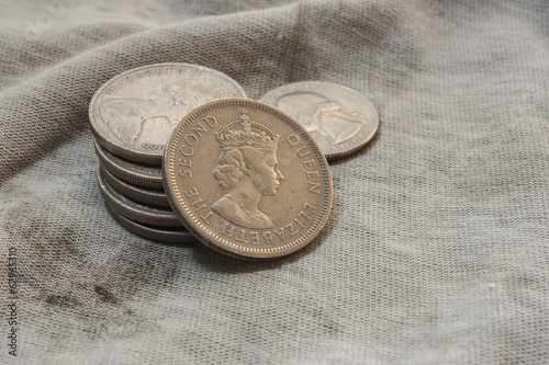 coins on fabric.