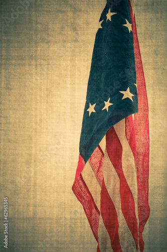American Confederate flag with vintage texture