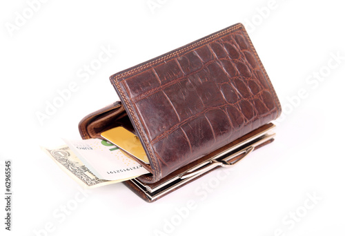 Leather purse with banknotes and cards