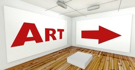 Art on frame wall, gallery interior