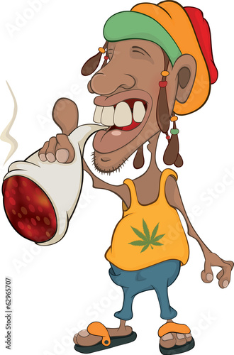 African man rastaman cartoon