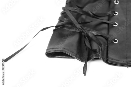 Leather skirt with a lacing background