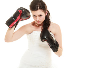 Wedding. Bride in boxing gloves. Emancipation.