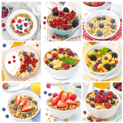breakfast with muesli and berries, collage of nine photos