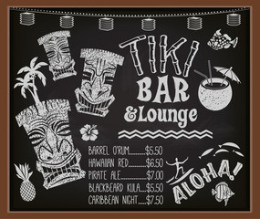 Tiki Bar and Lounge Chalkboard Cocktail Menu