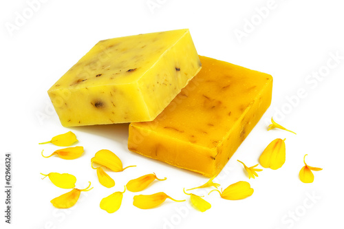 Soap with yellow petals