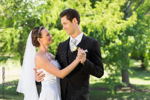 Couple dancing on wedding day