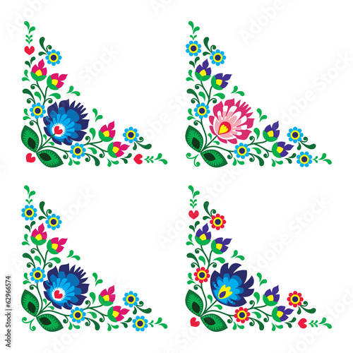 Corner border Polish floral folk pattern,  wzory lowickie - 62966574