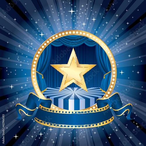 gold star blue circle