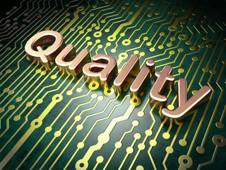 Marketing concept: Quality on circuit board background