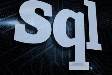 Sql against futuristic black and blue background