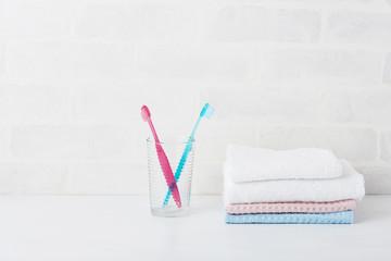歯ブラシ タオル 白背景