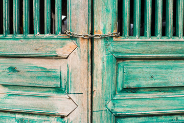 Old door paint green for vintage style