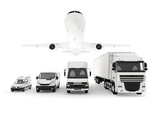 Cargo plane, truck, lorry and delivery cars
